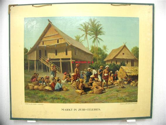 Markt in Zuid - Celebes.  Ykema schoolplaten., Aardrijkskundige wandkaarten Nederlandsch Indië.,  Tweede serie No: 4