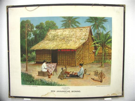 Een Javaansche woning.  Ykema schoolplaten., Aardrijkskundige wandkaarten Nederlandsch Indië.,  Eerste serie No: 2