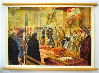 ( SCHOOLPLAAT ) Karel V doet afstand van de regering.