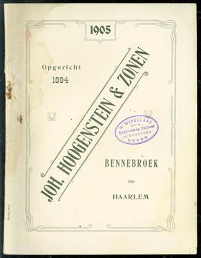 Joh. Hoogenstein & Zonen ( bennebroek bij Haarlem ) ( catalogus van o.a. Bloembollen
