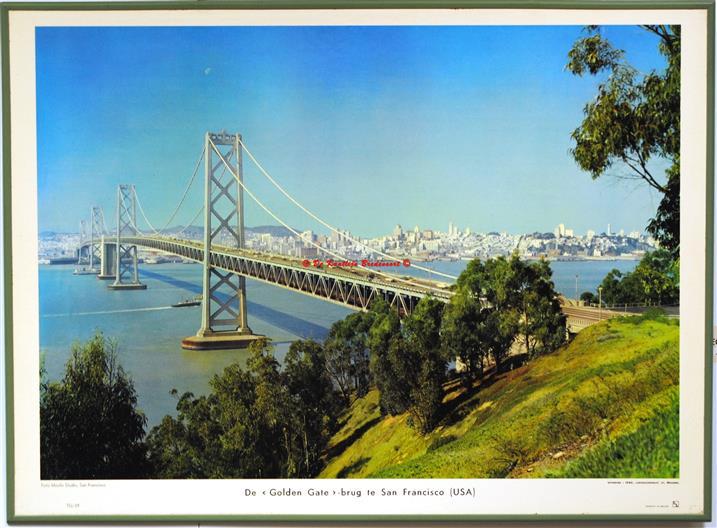 The golden gate bridge in San Francisco.( schoolplaat - wall chart)