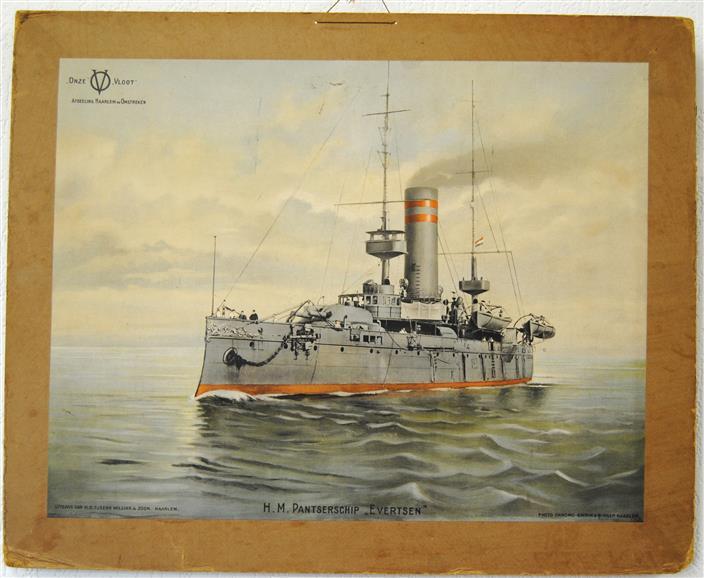 """Onze Vloot. Afdeling Haarlem en Omstreken: H.M. Patserschip  """"Evertsen"""" ( SCHOOLPLAAT )"""