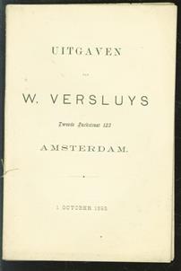 ( fondscatalogus = backlist) Uitgaven van W. Versluys tweede Parkstraat 123 Amsterdam.