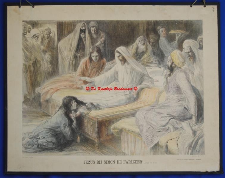 (SCHOOLPLAAT - SCHOOL POSTER / MAP - LEHRTAFEL) JEZUS BIJ SIMON DE FARIZEËR. Lucas VII : 48-50
