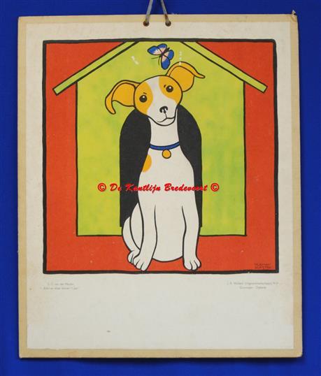 (SCHOOLPLAAT - SCHOOL POSTER / MAP - LEHRTAFEL) ( Hond en vlinder voor het hondenhok )