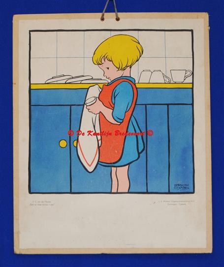 (SCHOOLPLAAT - SCHOOL POSTER / MAP - LEHRTAFEL) ( Meisje doet de afwas in de keuken )