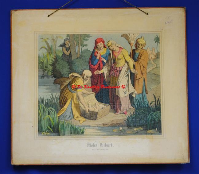 (SCHOOLPLAAT - SCHOOL POSTER / MAP - LEHRTAFEL) Moses Geburt ( Geboorte van Moses - Moses in het rieten mandje )