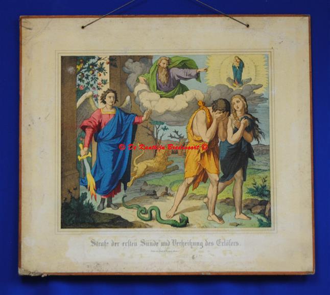 (SCHOOLPLAAT - SCHOOL POSTER / MAP - LEHRTAFEL) Strafe der ersten Sünde und Vertreibung des Erlösers ( De zondeval en de verdrijving uit het paradijs )