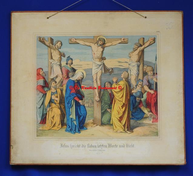 (SCHOOLPLAAT - SCHOOL POSTER / MAP - LEHRTAFEL) Jesus spricht die lieben letzte Worte und stirbt ( Jezus sterft aan het kruis )
