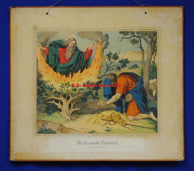 (SCHOOLPLAAT - SCHOOL POSTER / MAP - LEHRTAFEL) Der brennende Dornbusch ( De brandende braamstruik )