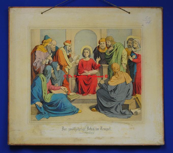 (SCHOOLPLAAT - SCHOOL POSTER / MAP - LEHRTAFEL) Der zwölfjährige Jesus im Tempel ( De 12 jarige Jesus in de Tempel )