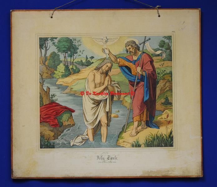 (SCHOOLPLAAT - SCHOOL POSTER / MAP - LEHRTAFEL) Jesus Taufe ( De doop van Jesus door Johannes de Doper )