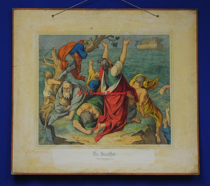 (SCHOOLPLAAT - SCHOOL POSTER / MAP - LEHRTAFEL) Die Sündflut ( De Zondvloed met de Ark van Noach )