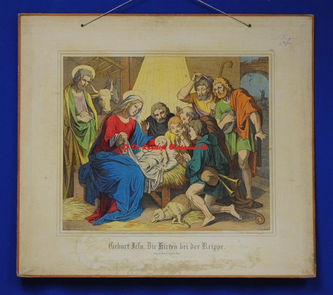 (SCHOOLPLAAT - SCHOOL POSTER / MAP - LEHRTAFEL) Geburt Jesu. Die Hirten bei der Krippe ) De geboorte van Jesus. De Herders rond de kribbe )