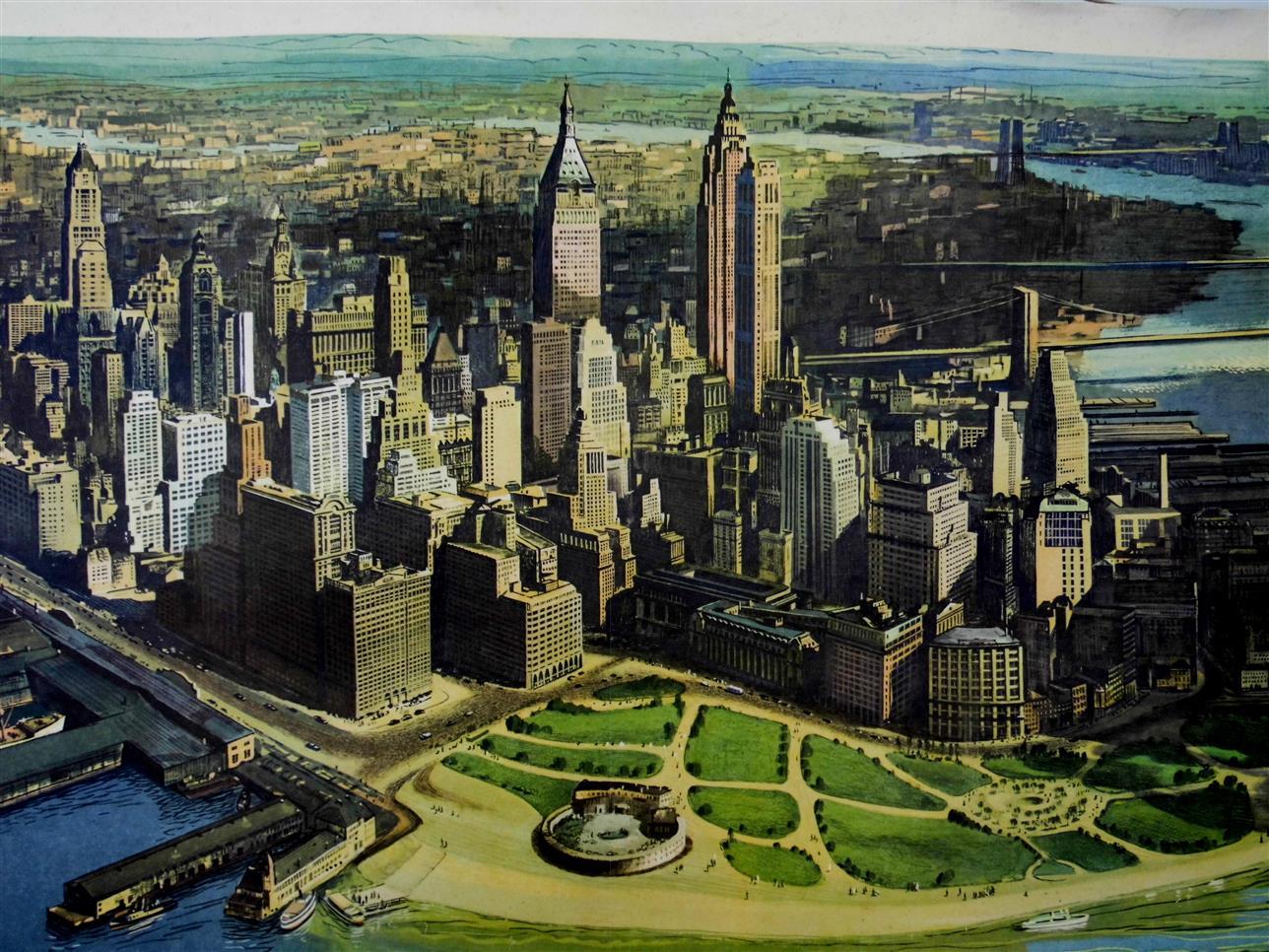 (SCHOOLPLAAT - SCHOOL POSTER / MAP - LEHRTAFEL) New York