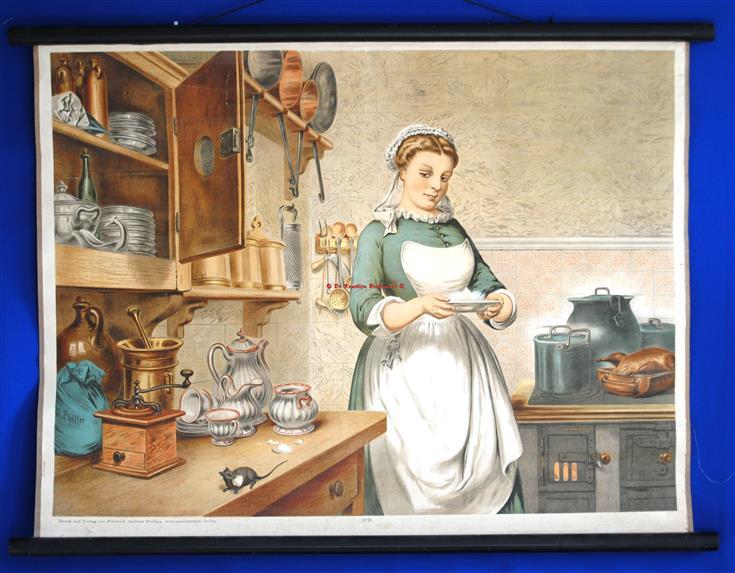 (SCHOOLPLAAT - SCHOOL POSTER / MAP - LEHRTAFEL) Housekeeper - maid in the kitchen with a mouse on the counter. - Huishoudster - dienstbode in de keuken met muis op het aanrecht