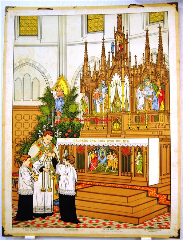 (SCHOOLPLAAT - SCHOOL POSTER / MAP - LEHRTAFEL) Roomsch zaakonderwijs. II: In het priesterkoor - Lof in de Meimaand