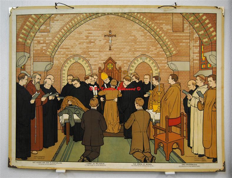(SCHOOLPLAAT - SCHOOL POSTER / MAP - LEHRTAFEL) Roomsch zaakonderwijs. III: Het kleed van den kloosterling ( Inkleding van een Benedictijn )