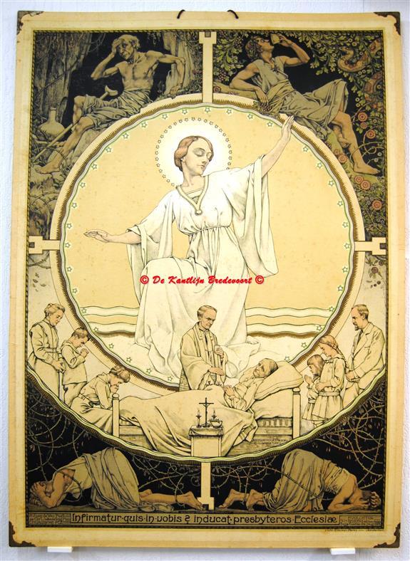 (SCHOOLPLAAT - SCHOOL POSTER / MAP - LEHRTAFEL) Infirmatur quis in vobis inducat presbyteros Ecclesiae., Het heilig Oliesel