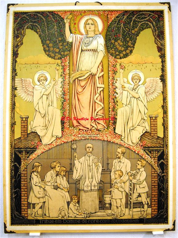 (SCHOOLPLAAT - SCHOOL POSTER / MAP - LEHRTAFEL) Ego te baptizo in nomine Patris et Filii et Spiritu sancti., De Doop