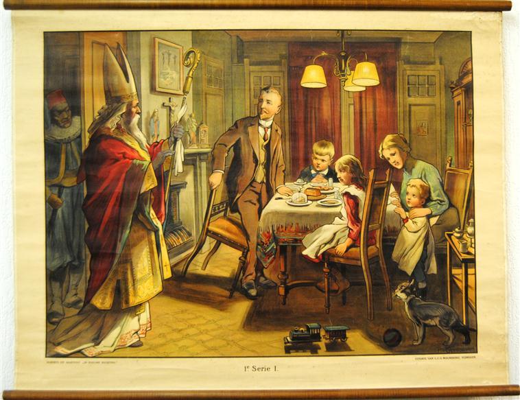 ( SCHOOLPLAAT ) ( Sint Nicolaas ) St.-Nicolaasbezoek [1e druk, Piet met fez, kat] = 1e Serie, 1