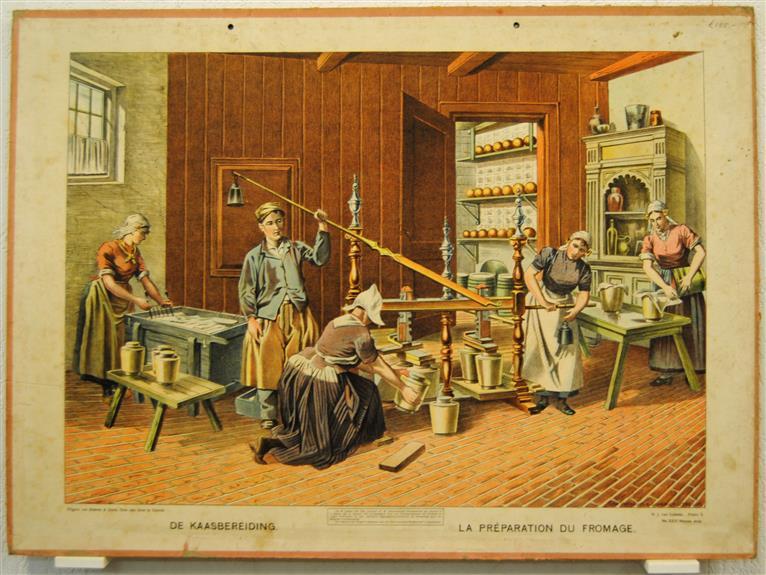 ( SCHOOLPLAAT ) De Kaasbereiding - La Préparation du fromage.