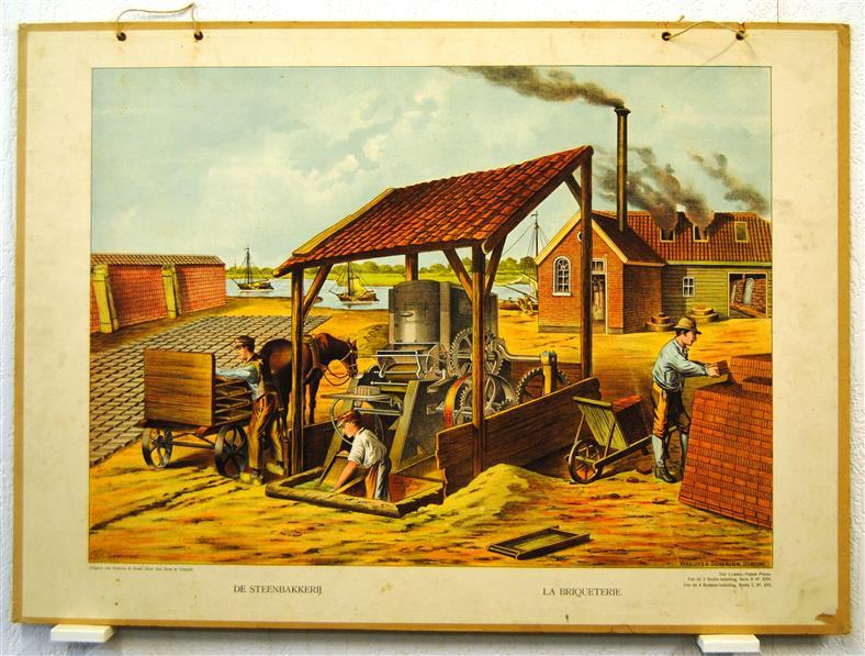 ( SCHOOLPLAAT ) De steenbakkerij - Le briqueterie ( brickmaking )