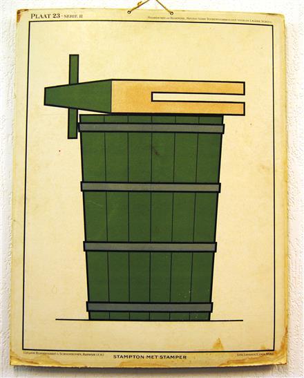 ( SCHOOLPLAAT ) Nieuwe serie teekenvoorbeelden voor de Lagere School. Plaat 23 serie II - STAMPTON MET STAMPER
