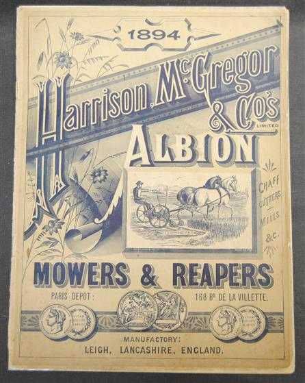 Albion 1894 Catalogue Agricultural machinery Mowers and turnip machines