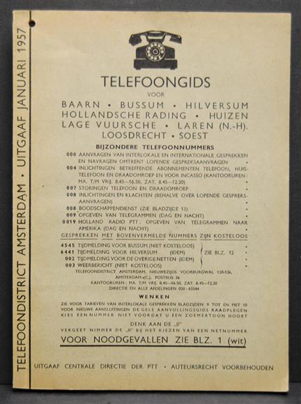 Telefoongids Baarn, Bussum, Hilversum, Hollandsche Rading, Huizen, Lage Vuursche, Laren ( N-H), Loosdrecht, Soest  1957