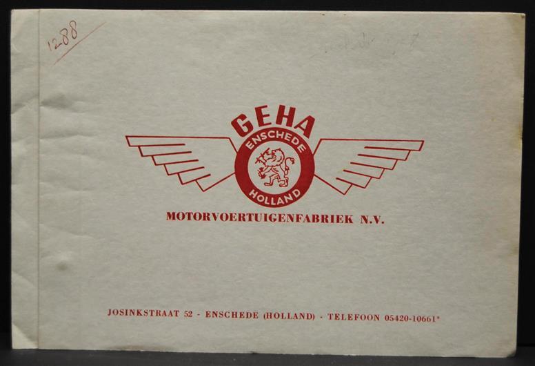 ( TRADE CATALOGUE ) GEHA, Motorvoertuigenfabriek N.V.