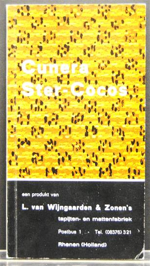 Cunera Ster-Cocos. Cocoscatalogus  (= cocosmatten )( Sales catalogue on cocos carpets )