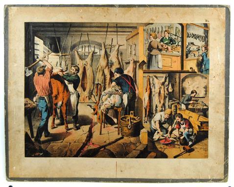 (SCHOOLPLAAT - SCHOOL POSTER / MAP - LEHRTAFEL) 19th century  SLAGER - SLAGERIJ - SLACHTEN - BUTCHER - BUTCHER - SLAUGHTER ( IIIa )
