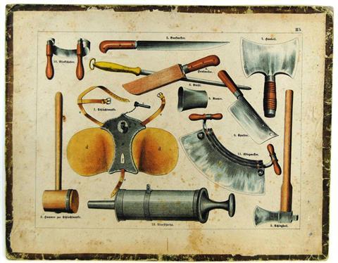 (SCHOOLPLAAT - SCHOOL POSTER / MAP - LEHRTAFEL) 19th century GEREEDSCHAPPEN VOOR SLAGER - SLAGERIJ - SLACHTEN - TOOLS FOR BUTCHER - BUTCHER - SLAUGHTER ( IIIb)