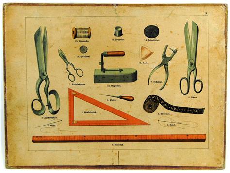 (SCHOOLPLAAT - SCHOOL POSTER / MAP - LEHRTAFEL) 19th century  GEREEDSCHAPPEN KLEERMAKER - KLEERMAKERIJ -TOOLS TAILOR - COUTURE ( Ib)