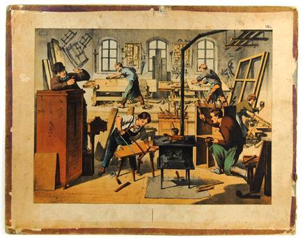 (SCHOOLPLAAT - SCHOOL POSTER / MAP - LEHRTAFEL) 19th century TIMMERMAN MEUBELMAKER  TIMMERWERKPLAATS CARPENTER  JOINER  CARPENTRY  ( VIIa)