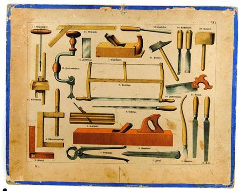 (SCHOOLPLAAT - SCHOOL POSTER / MAP - LEHRTAFEL) 19th century  GEREEDSCHAPPEN TIMMERMAN  MEUBELMAKER  TIMMERWERKPLAATS  CARPENTER TOOLS  JOINER  CARPENTRY  ( VIIb )