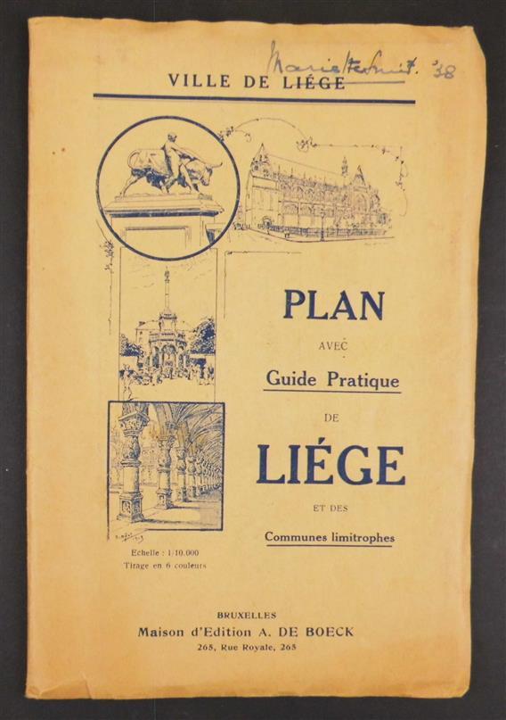 Plan avec Guide Pratique de Liége et des communes limitrophes.