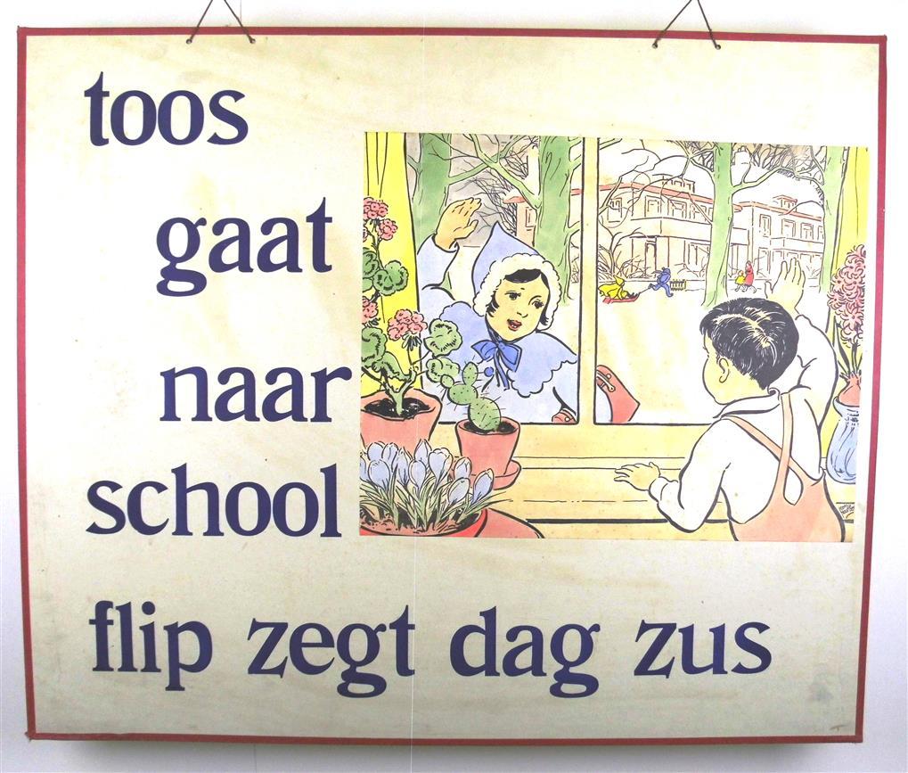 ( SCHOOLPLAAT ) . LEES MEE . Toos gaat naar school. Flip zegt dag zus