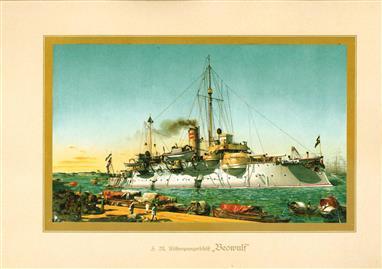 """( LITHO ). Deutschland zur see : S.M. Küstenpfanzerschiff """"BEOWULF """""""