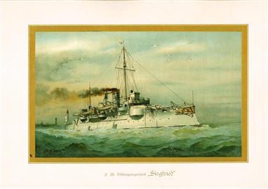 """( LITHO ). Deutschland zur see : S.M. Küstenpfanzerschiff """"SIEGFRIED """""""