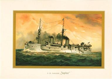 """( LITHO ). Deutschland zur see : S.M. Hafenschiff """"JUPITER """""""