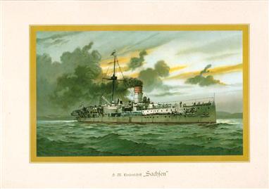 """( LITHO ). Deutschland zur see : S.M. Linienschiff """"SACHSEN """""""