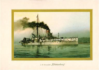"""( LITHO ). Deutschland zur see : S.M. Linienschiff """"WÜRTENBERG """""""