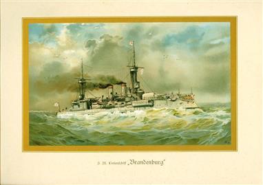 """( LITHO ). Deutschland zur see : S.M. Linienschiff """"BRANDENBURG """""""