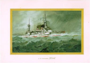 """( LITHO ). Deutschland zur see : S.M. Linienschiff """"WÖRTH """""""