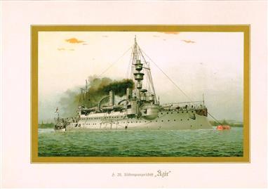 """( LITHO ). Deutschland zur see : S.M. K""""stenpanzerschiff """"ÄGIR """""""