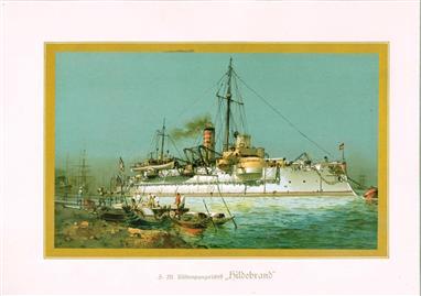 """( LITHO ). Deutschland zur see : S.M. Küstenpanzerschiff """"HILDEBRAND """""""