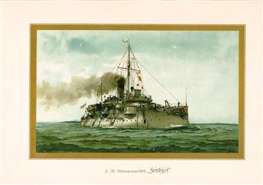 """( LITHO ). Deutschland zur see : S.M. Küstenpanzerschiff """"FRITHJOF """""""