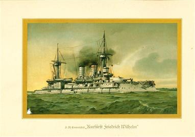 """( LITHO ). Deutschland zur see : S.M. Linienschiff """"KURFÜRST FRIEDRICH WILHELM """""""